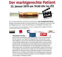 """Am 22. Januar 2019 wird um 19 Uhr im Lÿz der Film """"Der marktgerechte Patient"""" gezeigt. Anschließend findet eine Podiumsdiskussion mit regionalen Fachleuten über den Pflegenotstand in Krankenhäusern und Pflegeeinrichtungen statt."""