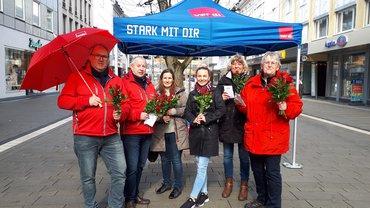 Infostand der Gewerkschaften in der Siegener Innenstadt