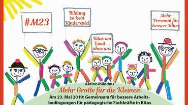 Am 23. Mai 2019 gemeinsam für bessere Arbeitsbedingungen für pädagogische Fachkräfte in Kitas.