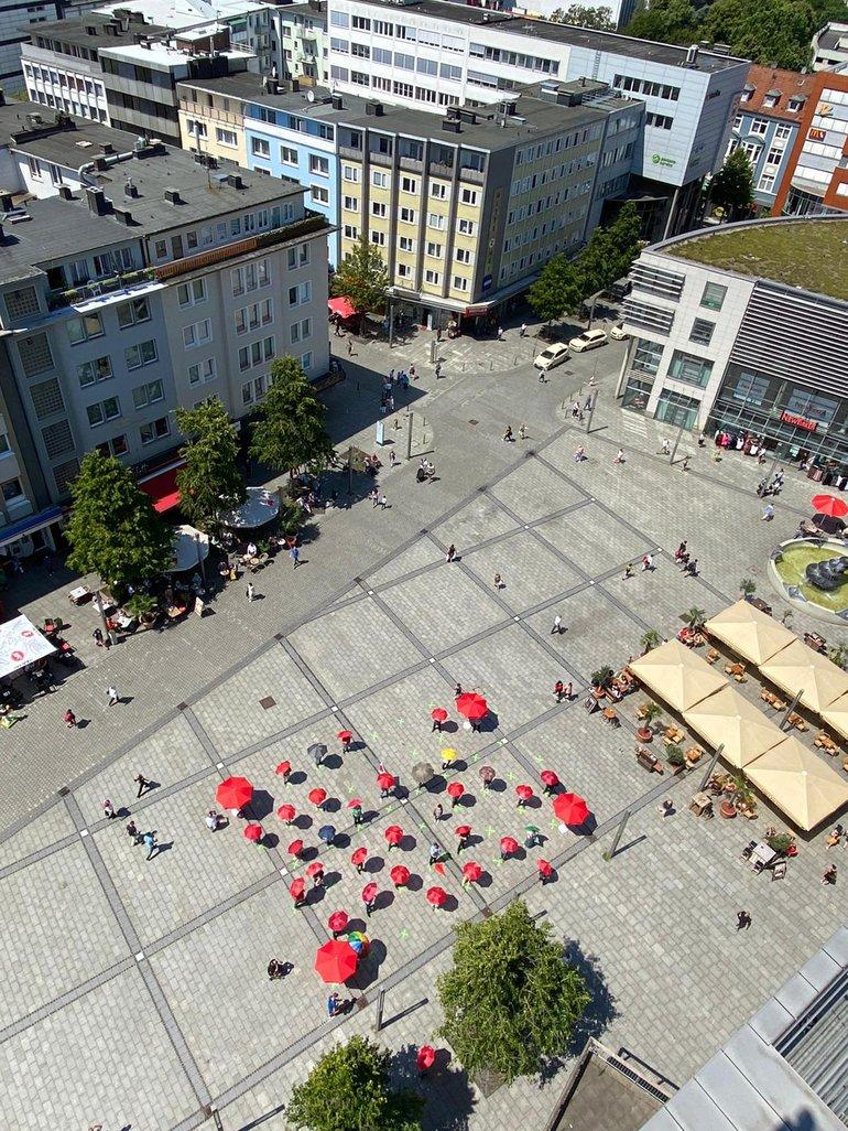 Rettungsschirme für die Stadt Hagen aus der Vogelperspektive